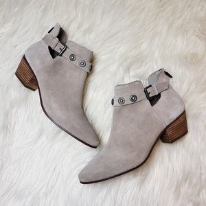 Nine West Taupe Lorao Suede Leather Ankle Booties